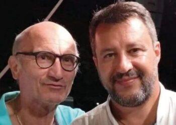Massimo Ciacchini, capogruppo della Lega a Collesalvetti, con Matteo Salvini