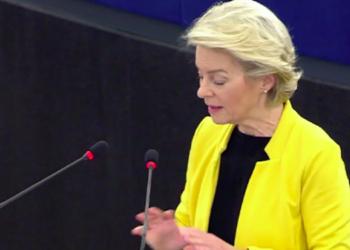 Screenshot del video ufficiale dell'intervento di U. von der Leyen